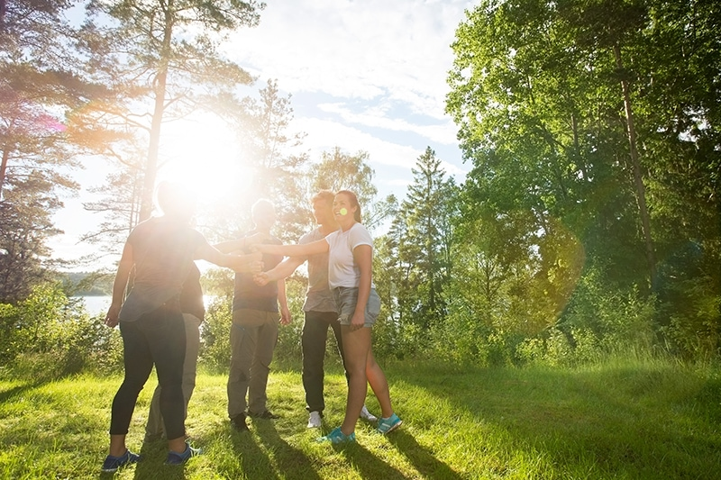 Kollegaer til sjov teambuilding i naturen. Sol gennem træerne.